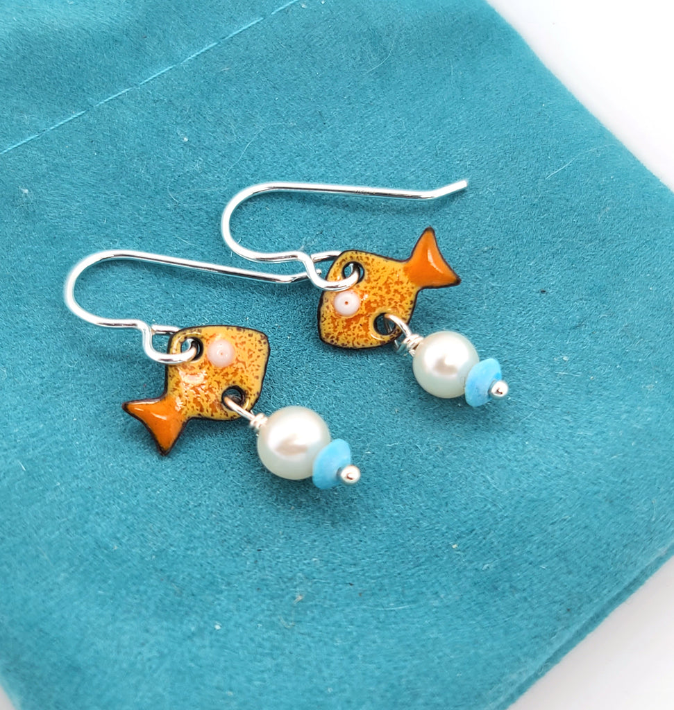 kiln enamel earrings with pearls