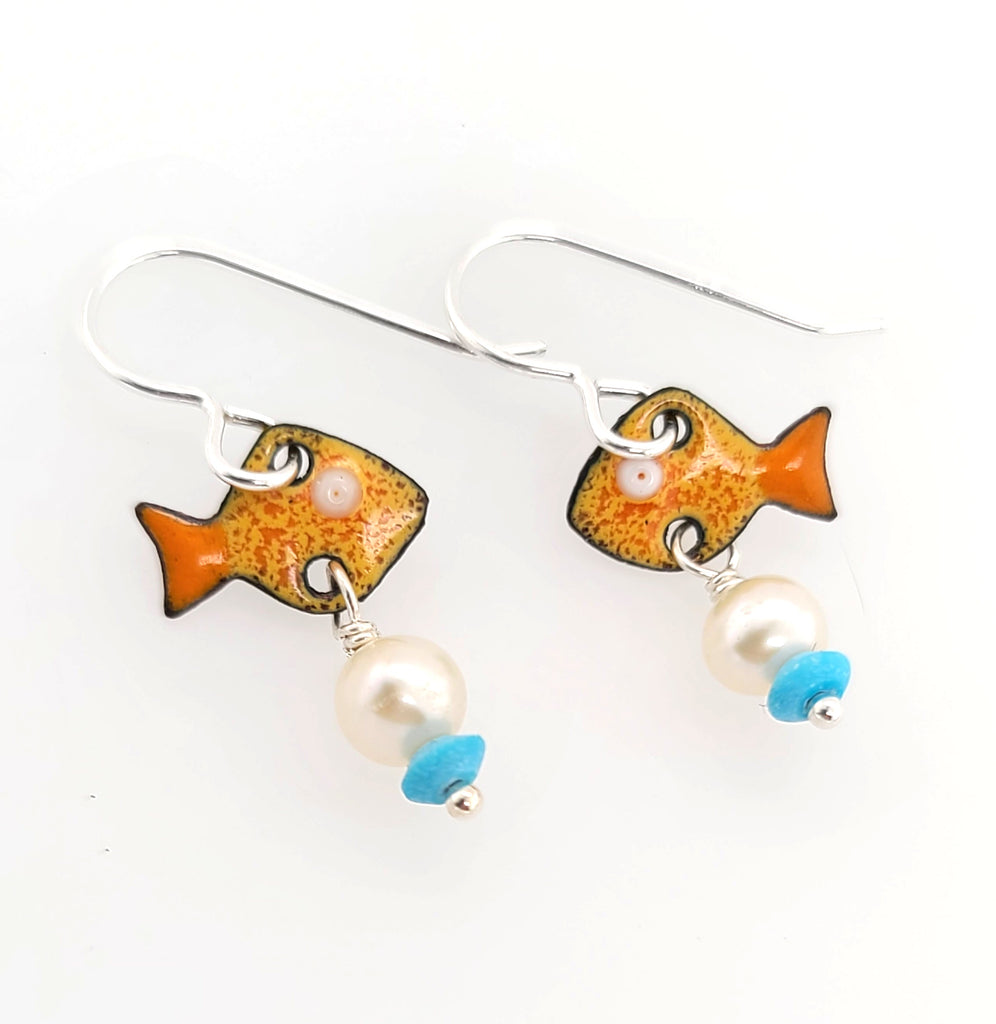 orange and blue fish earrings