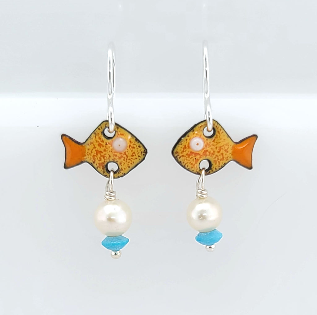 enameled fish earrings