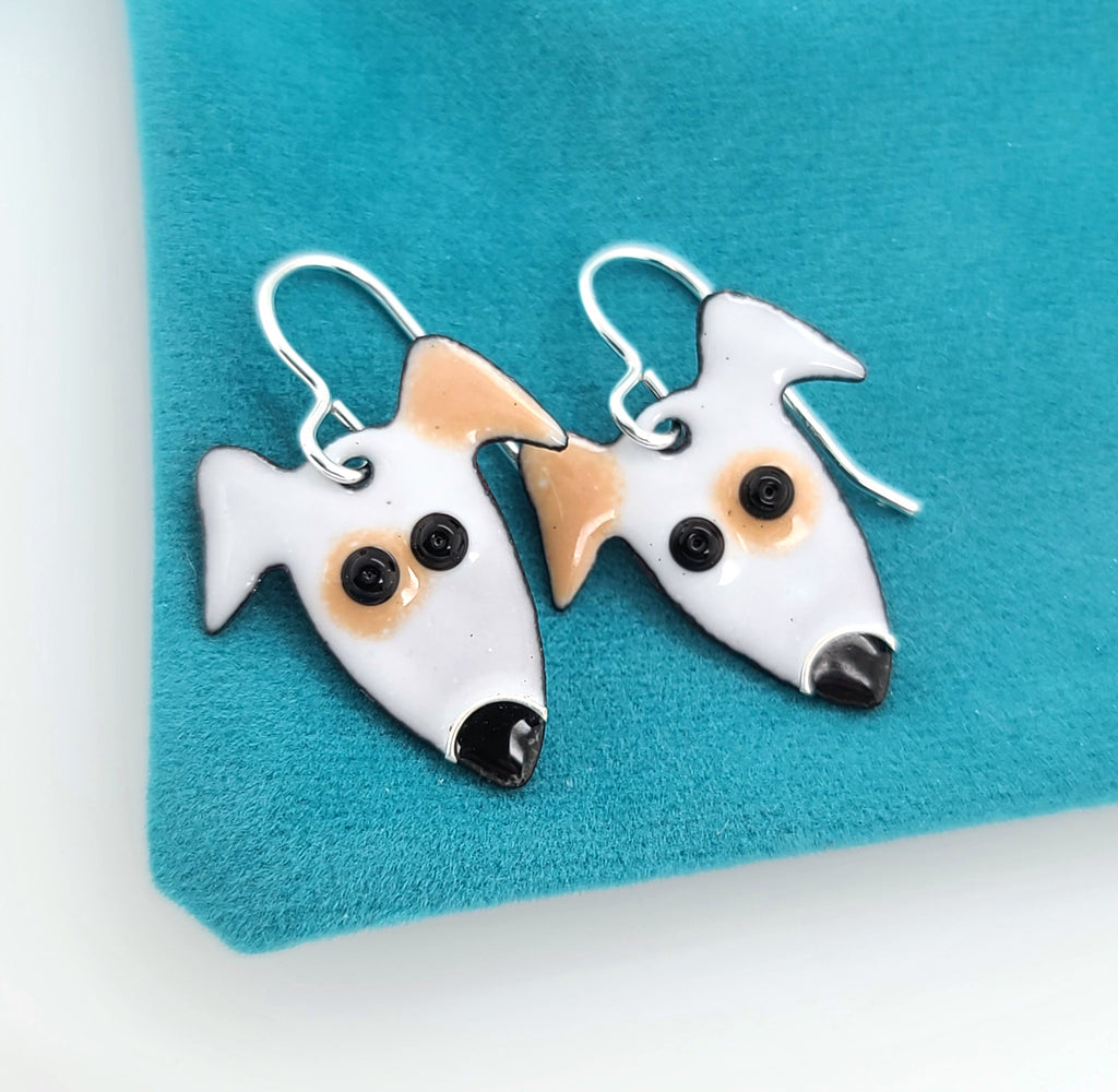 enameled dog earrings