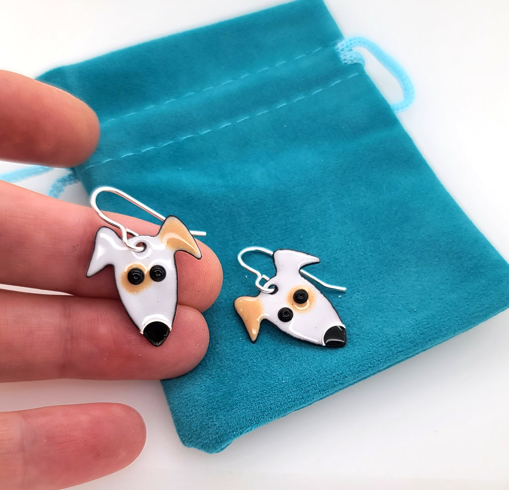 white and brown terrier earrings