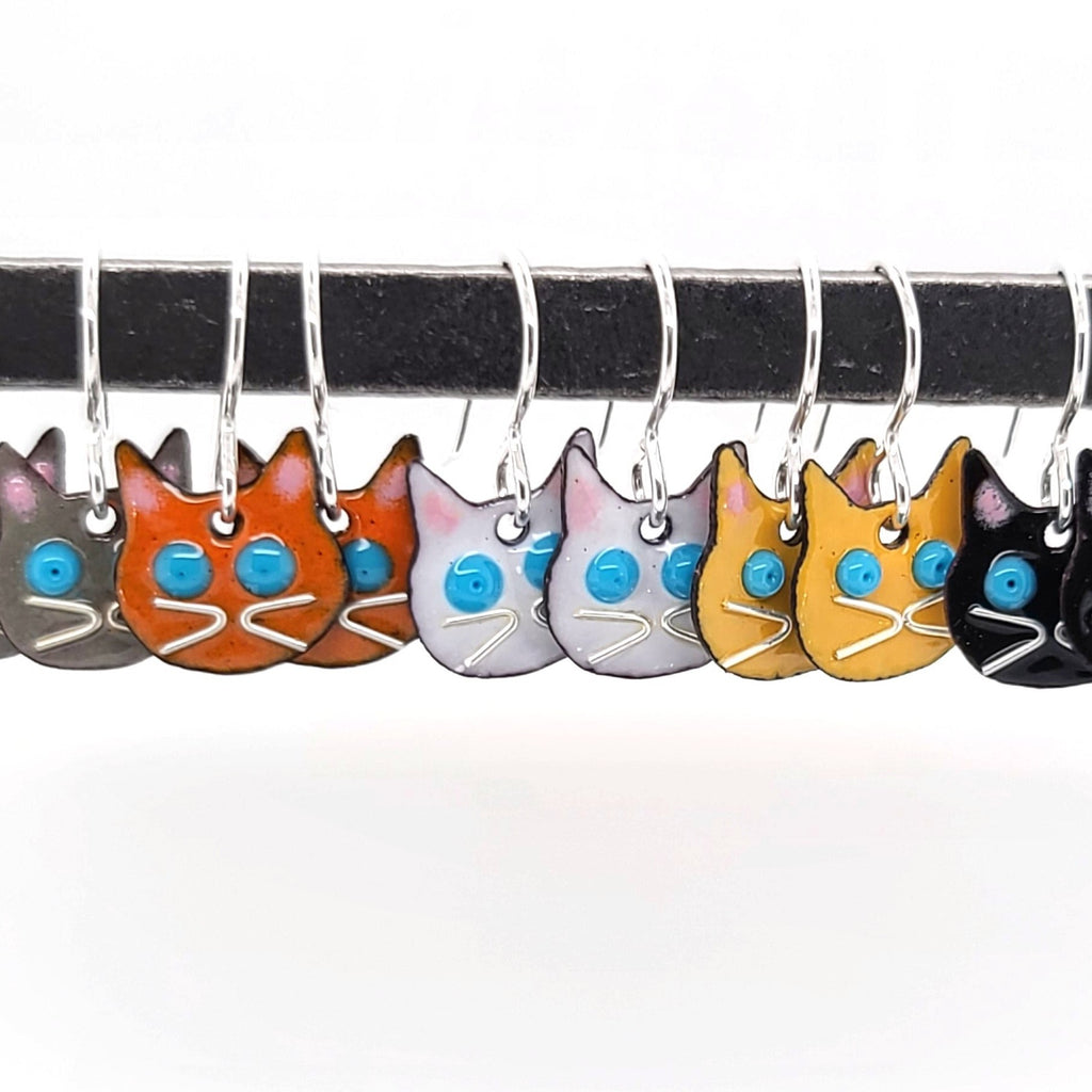 glass enamel cat earrings in different colors