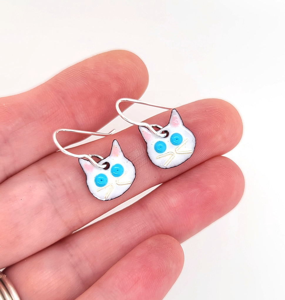 handcrafted white cat earrings