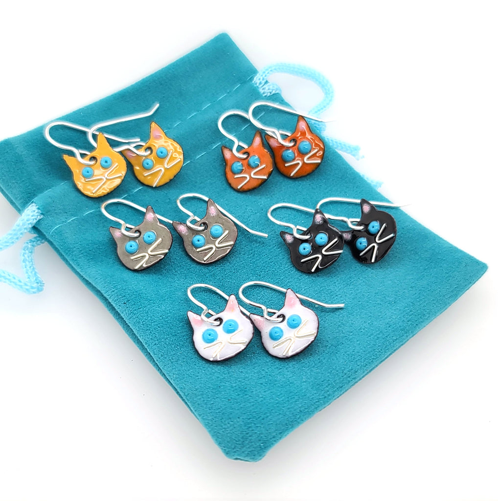 enameled cat jewelry by Kathryn Riechert