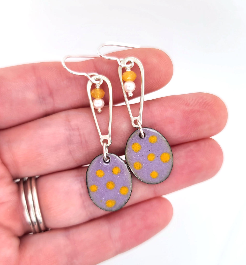 purple ovals with yellow dots earrings