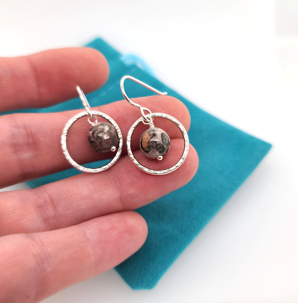 leopard jasper gemstone bead earrings