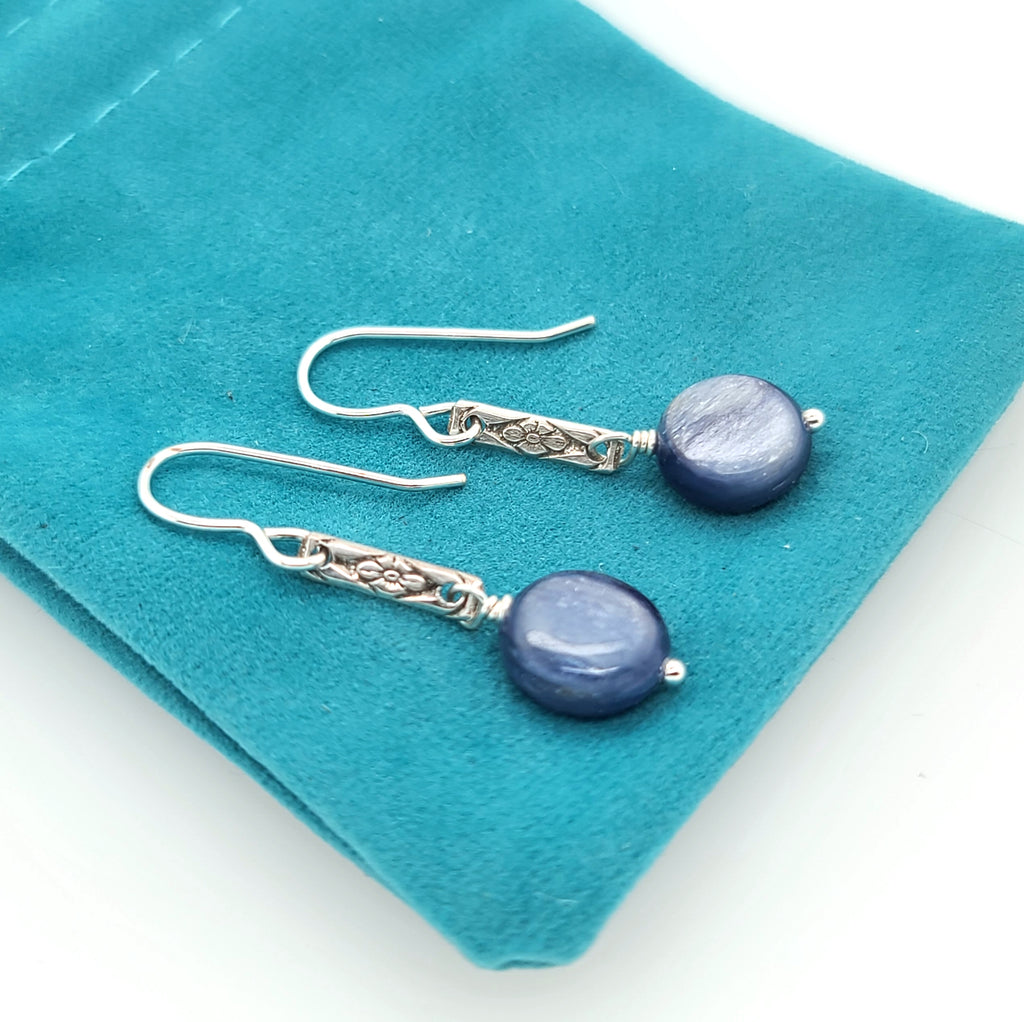 sterling silver dangle earrings with blue gemstones