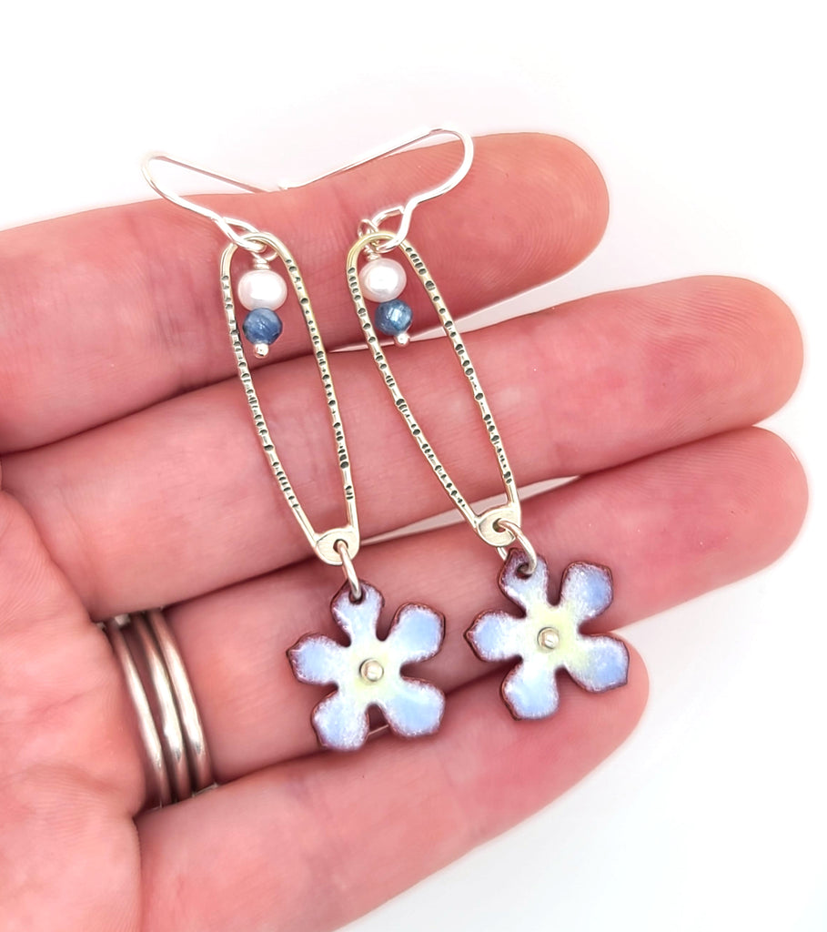 long silver and enamel earrings with flowers