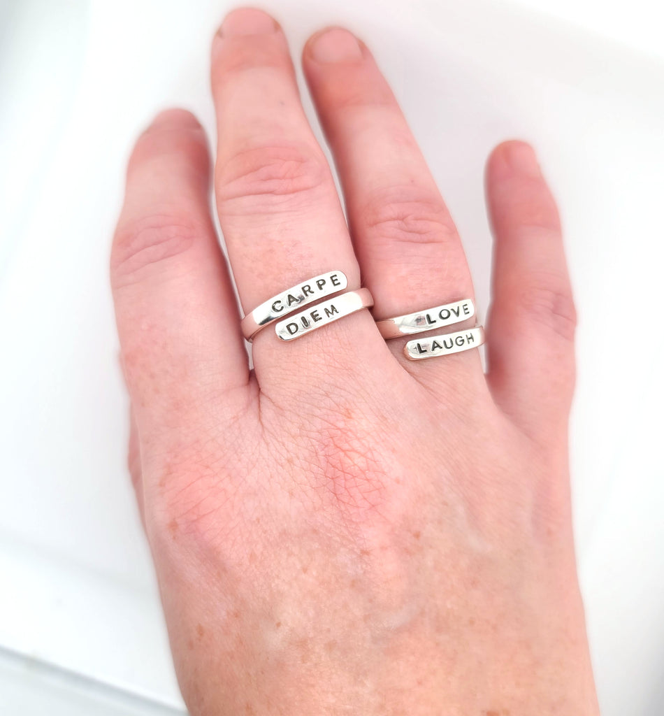 hand stamped wrap rings adjustable style