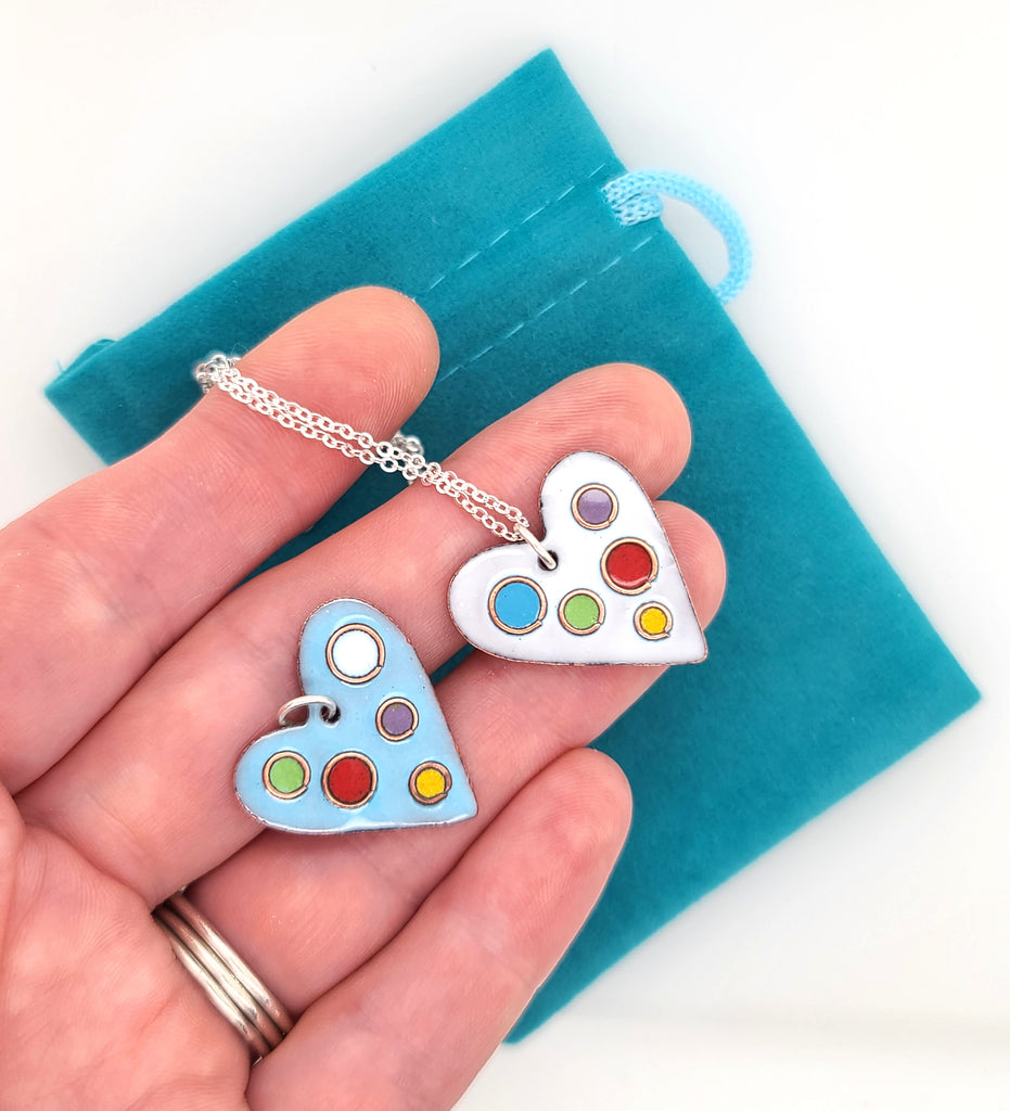 rainbow colored polka dot heart pendants