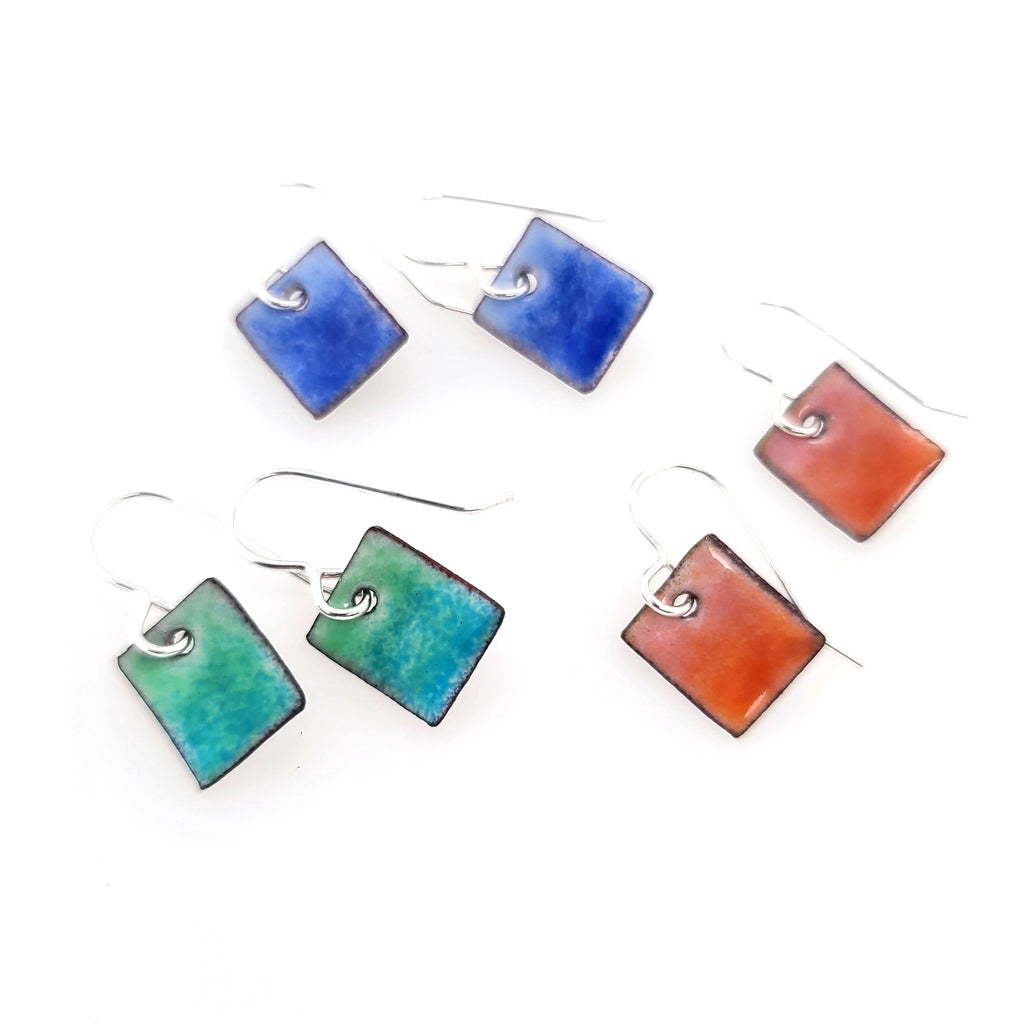small enamel rectangle earrings