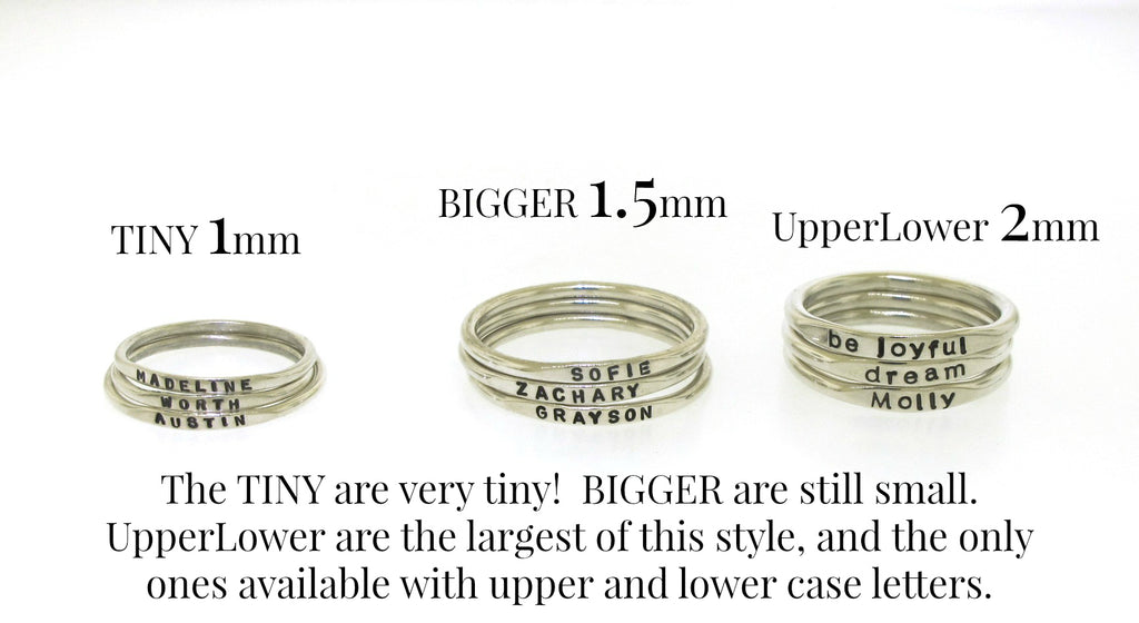 stackable rings with childrens names