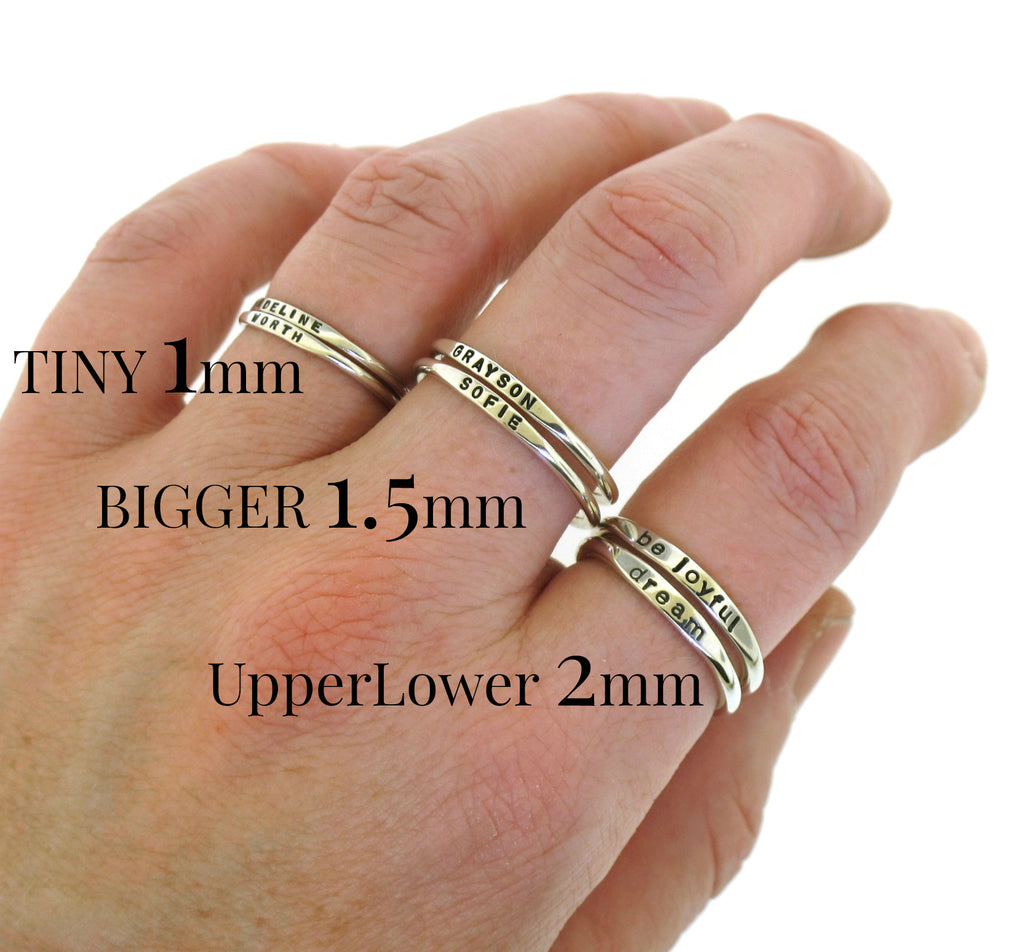 tiny stacking name rings gift for mom