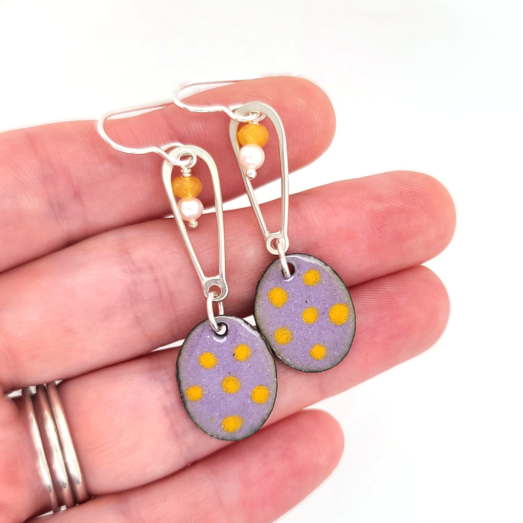enameled polka dot earrings with purple and yellow