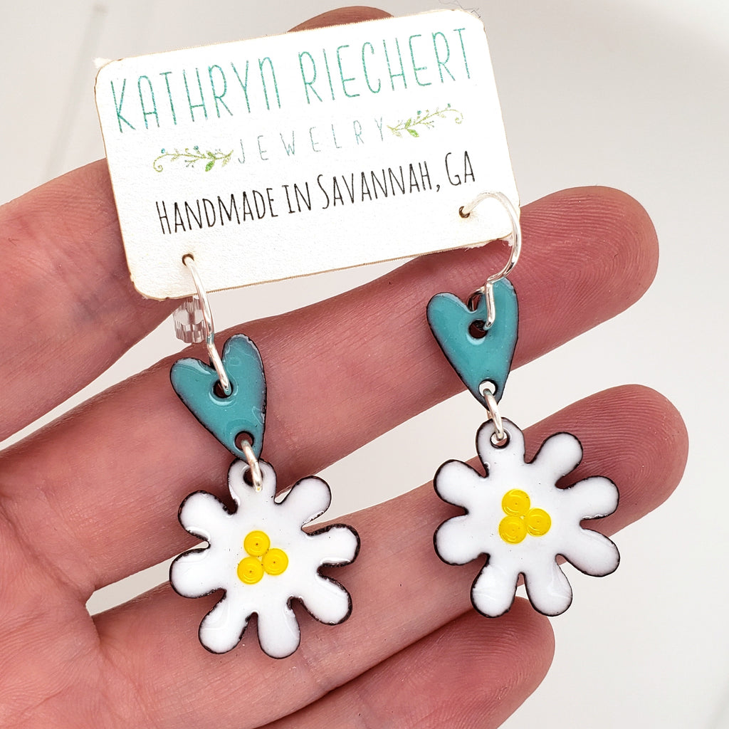 turquoise daisy earrings Kathryn Riechert