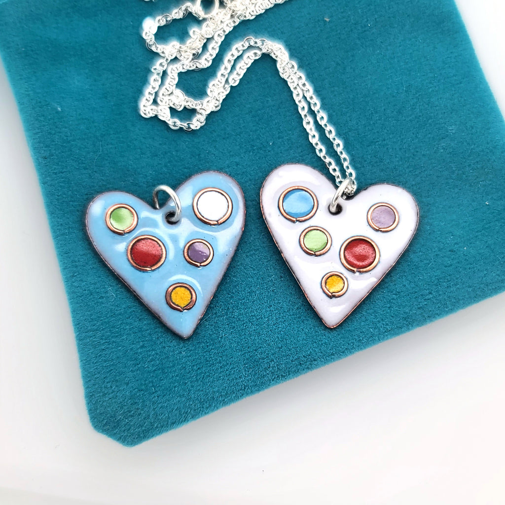 enameled heart pendant