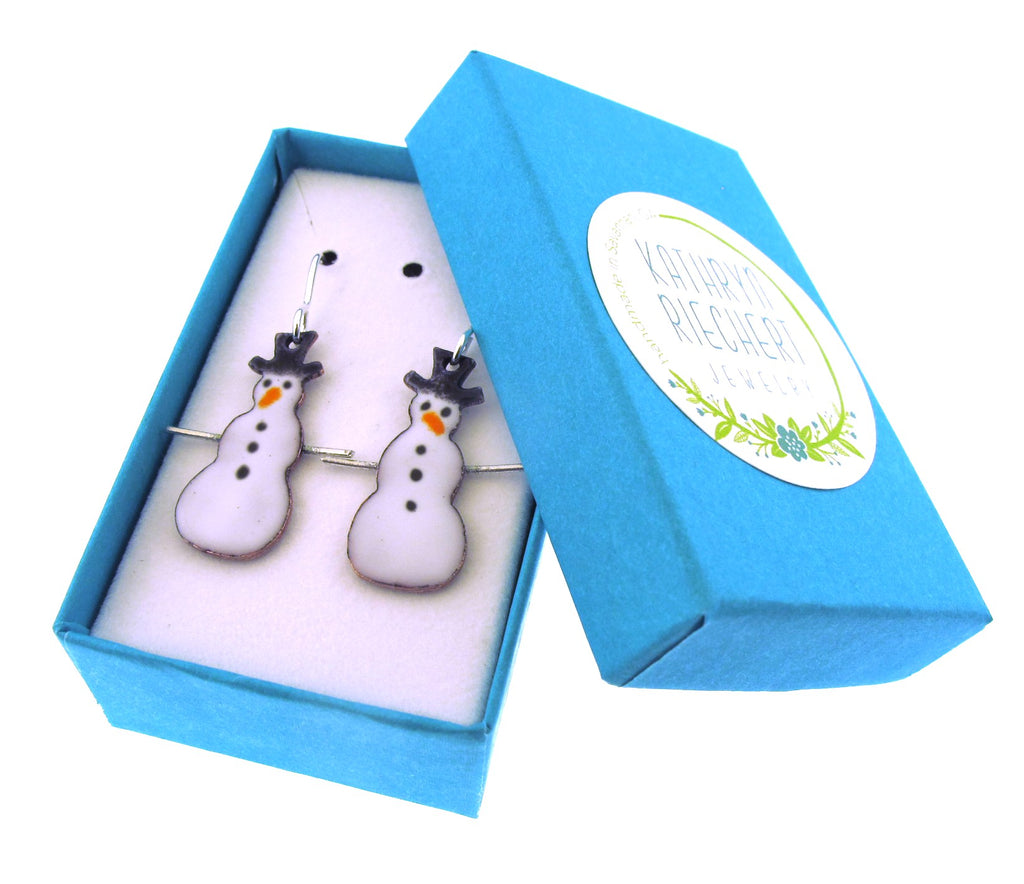 enameled snowman earrings