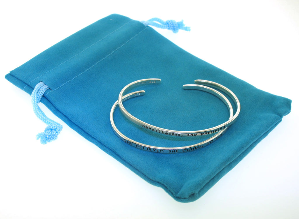 storage pouch for handstamped silver bracelets made by kathryn riechert jewelry
