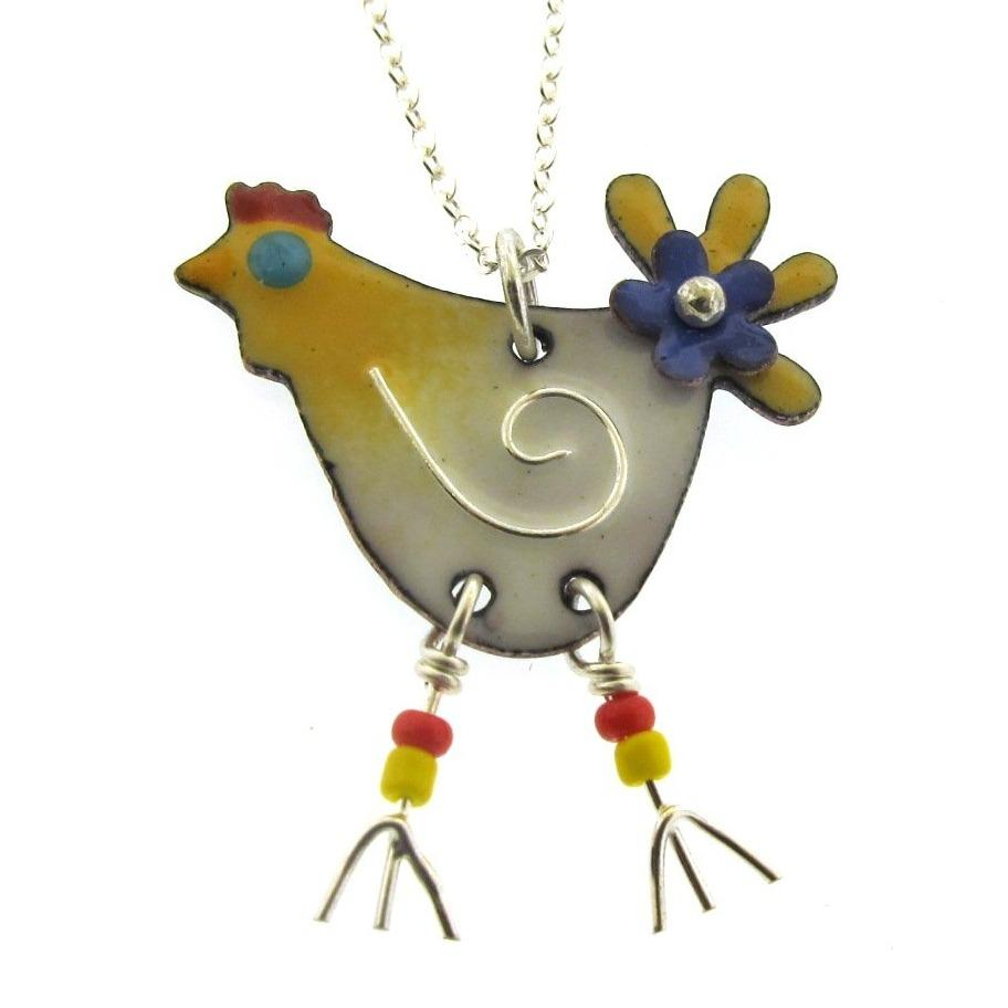 chicken necklace, chicken charm