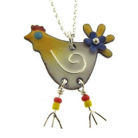 Chicken Necklace, colorful enameled chicken
