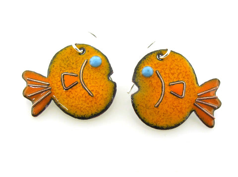 Goldfish earrings, enameled in your choice or orange or blue