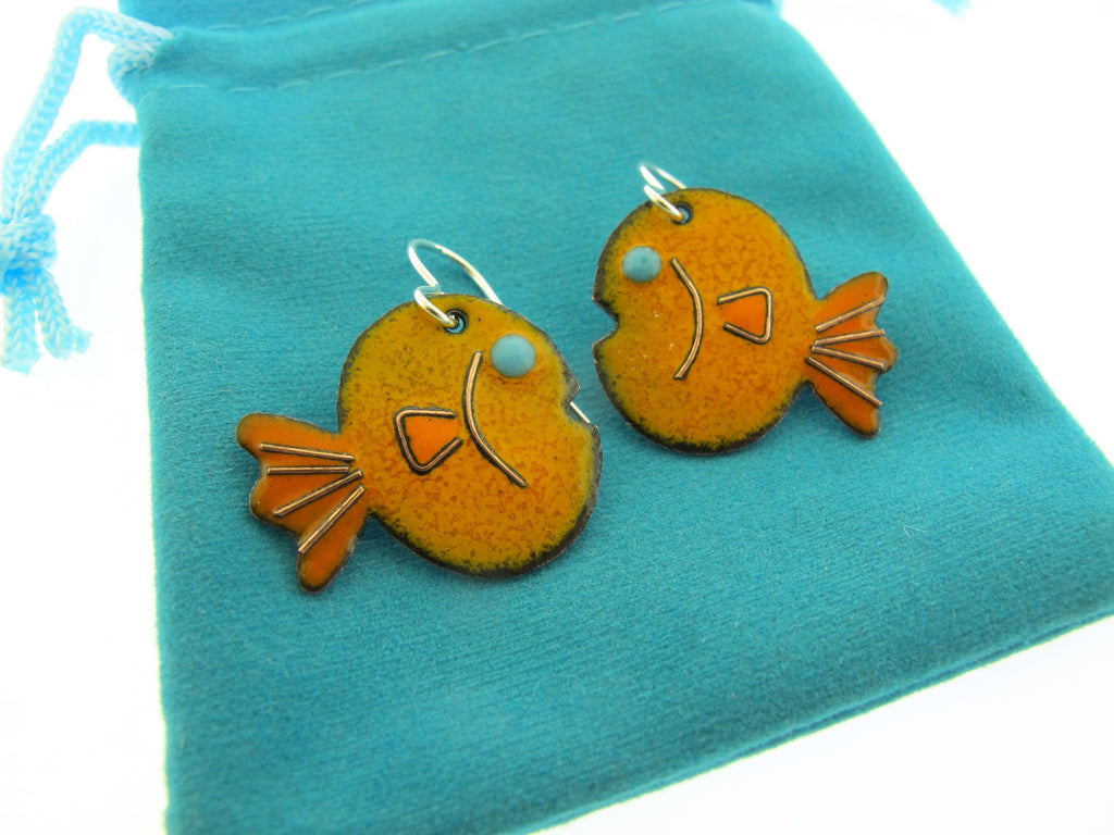 orange fish earrings