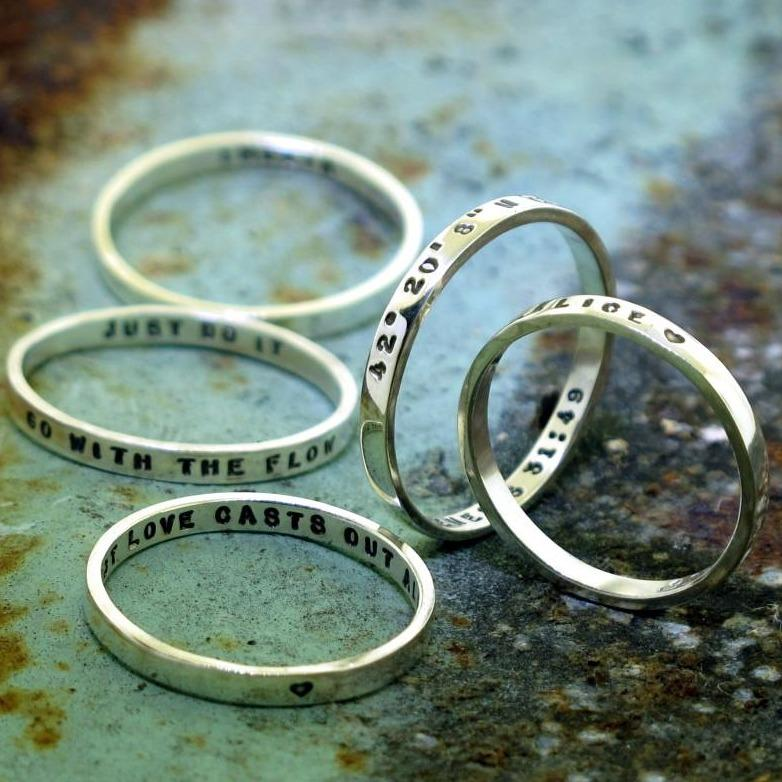 hand stamped silver rings