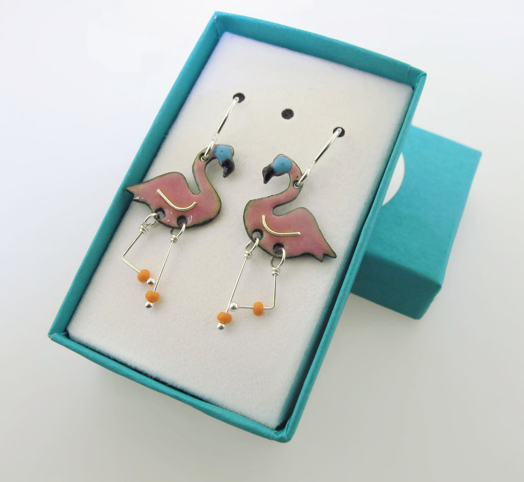 small pink flamingo earrings