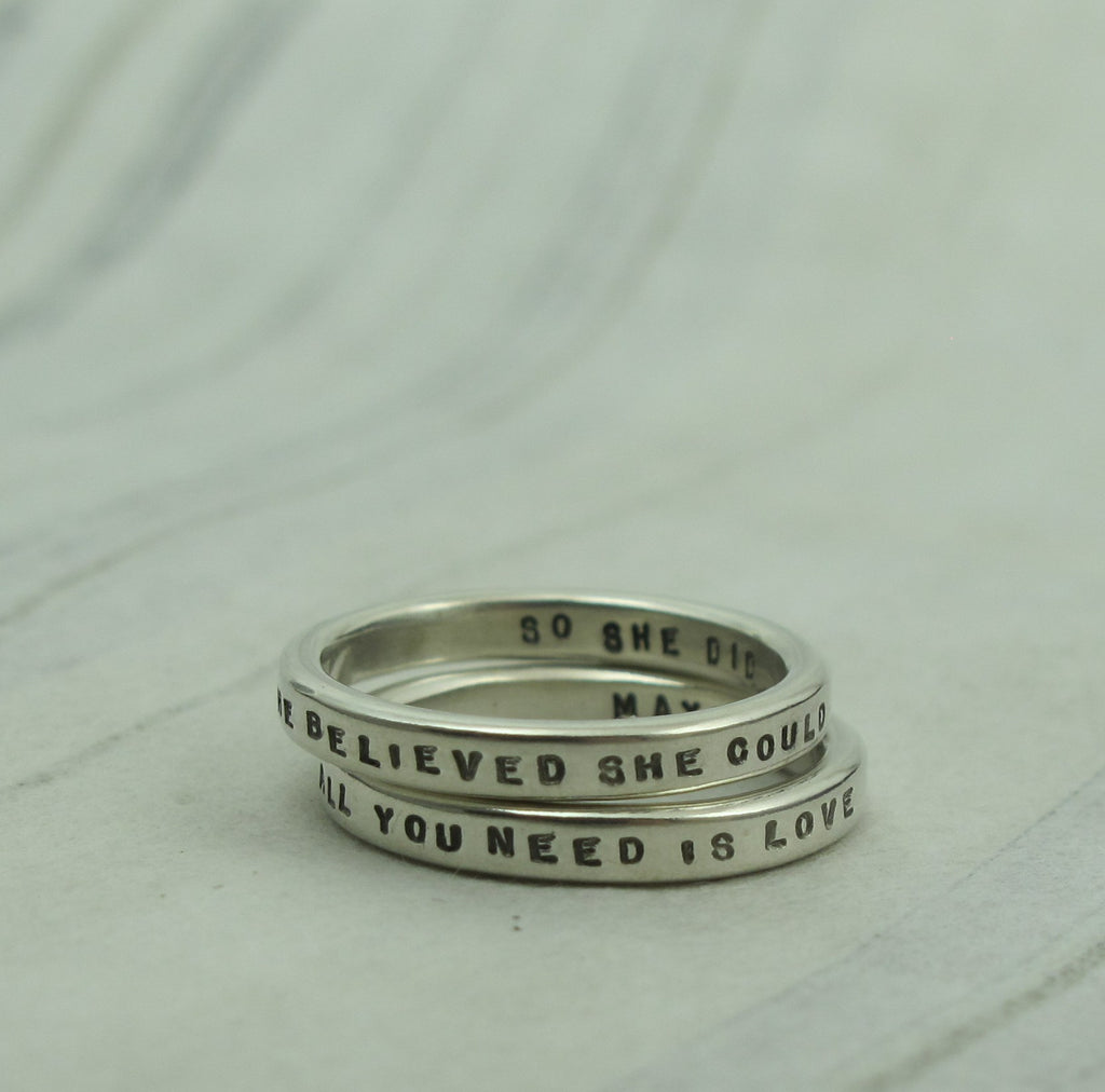 handstamped message rings