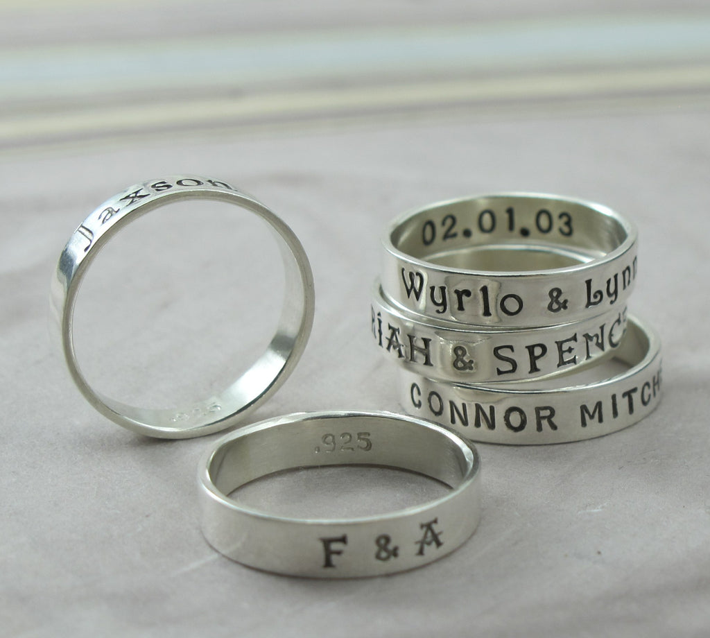 stamped rings with your message