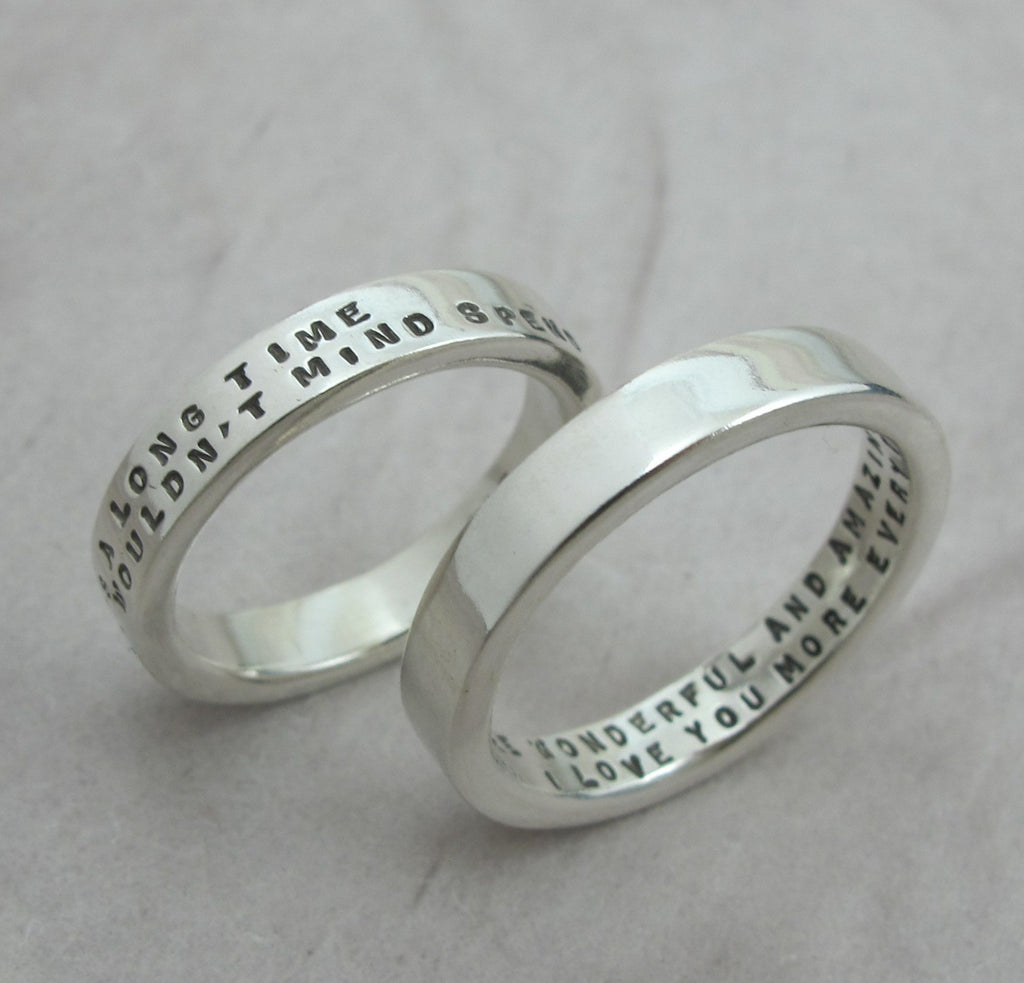 silver ring with custom message