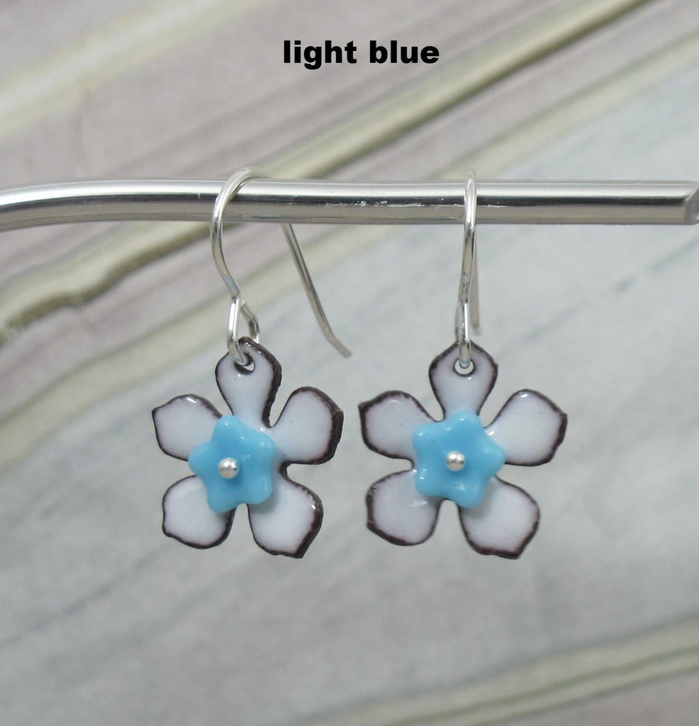 enameled flower earrings