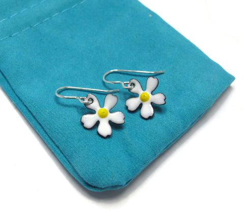 Enameled Flower Earrings, choose your color