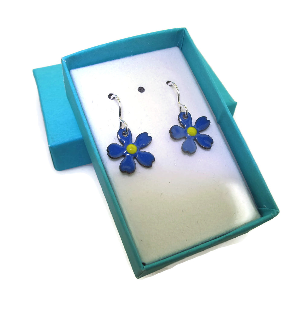 royal blue flower earrings gift for girls