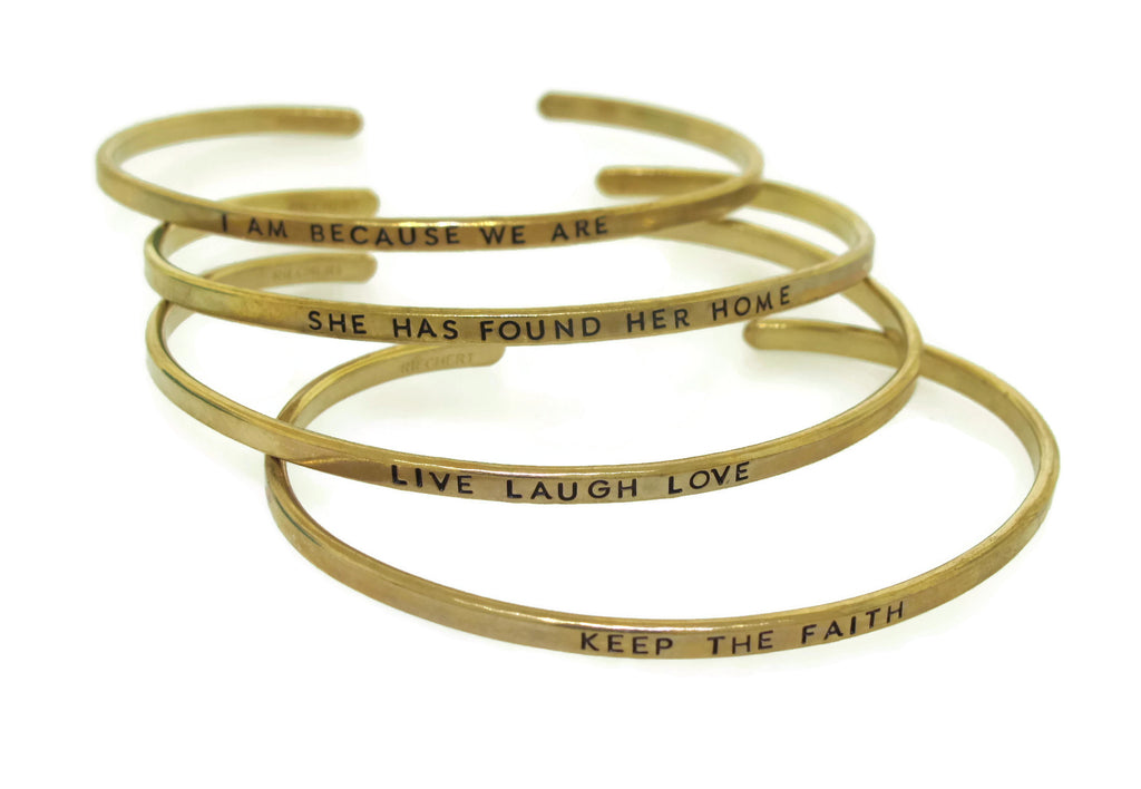 hand stamped gold tone brass bangle bracelets