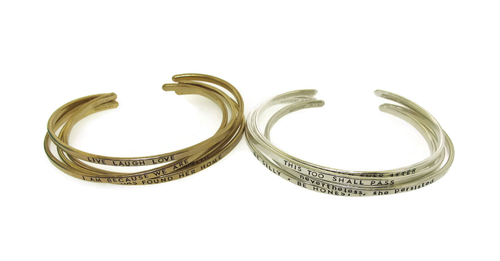 brass and silver stacking cuff bracelets
