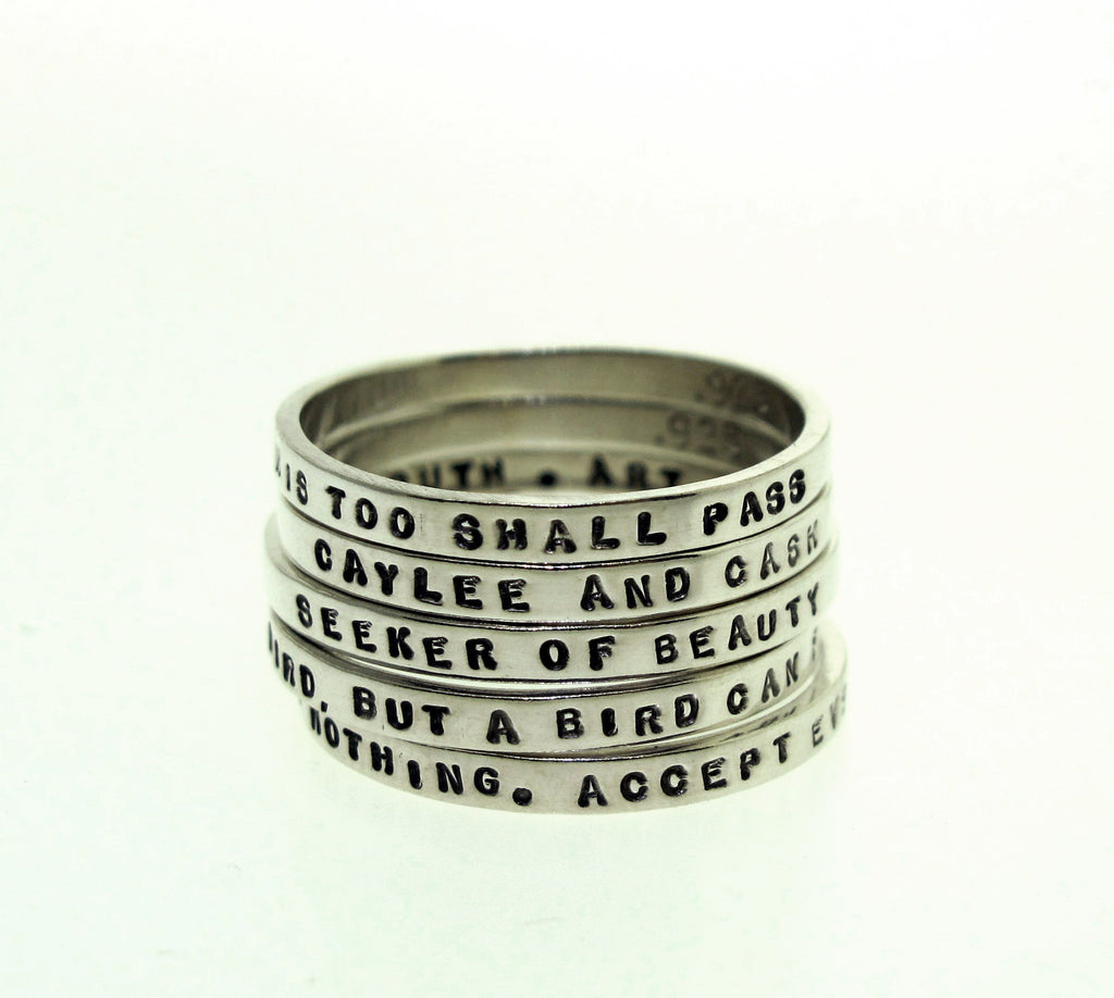 sterling silver rings with messages