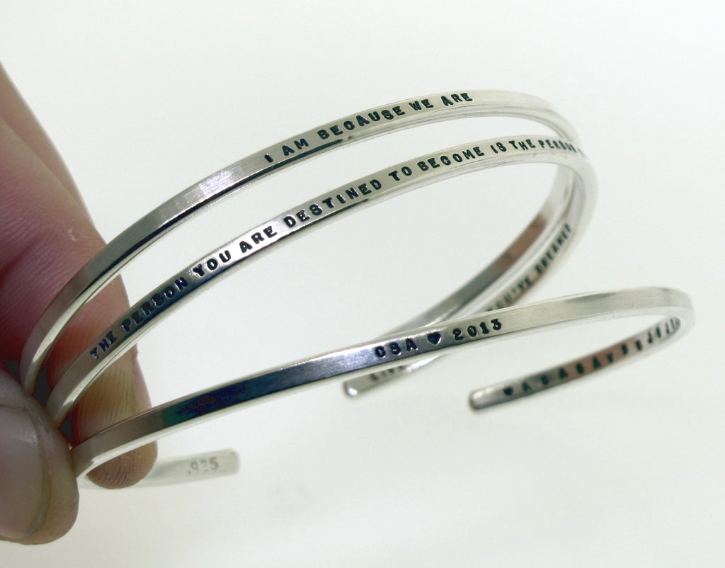 sterling inscribed cuff