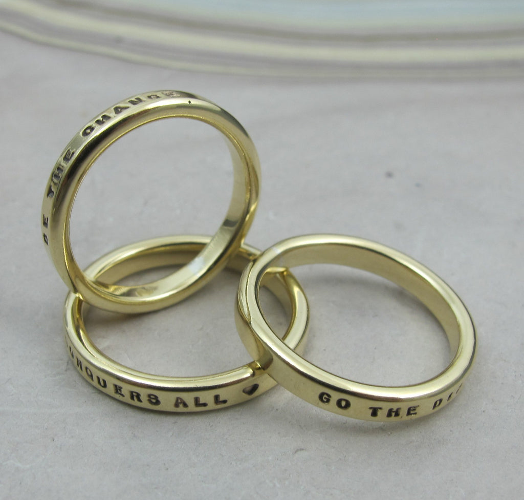 yellow brass rings for stacking