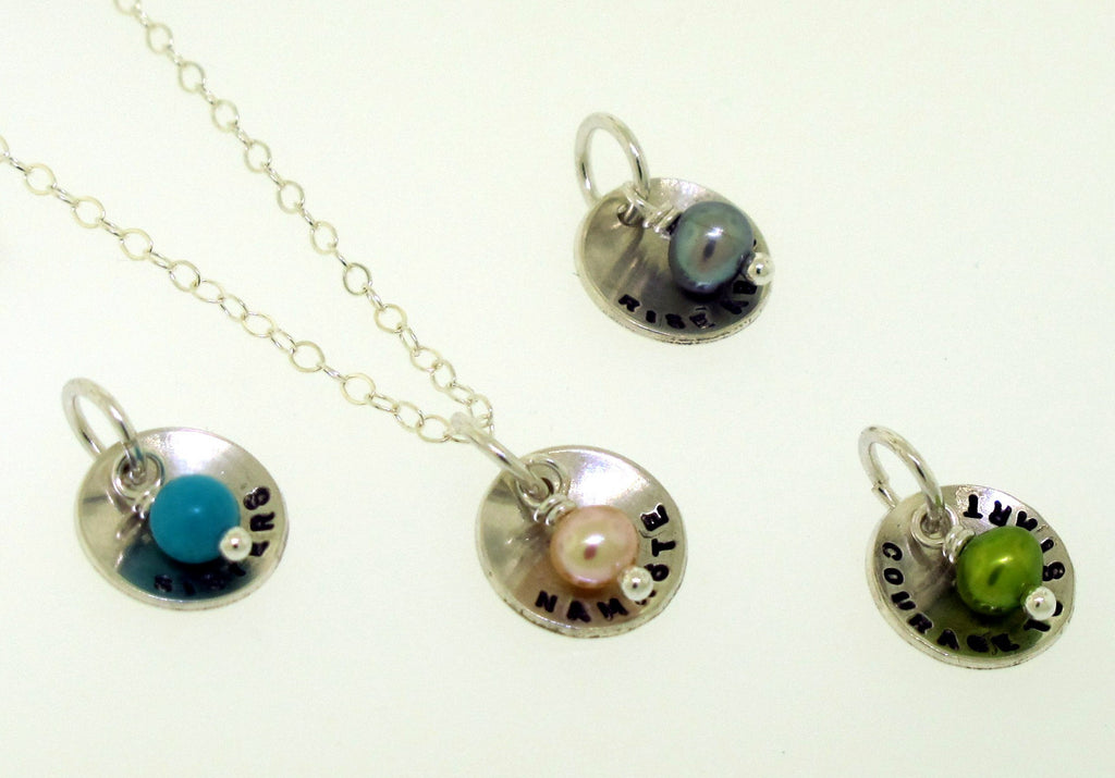 tiny dome charm necklace