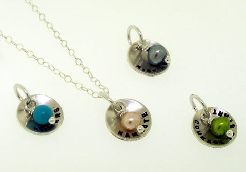 Custom Tiny Dome Charm Necklace