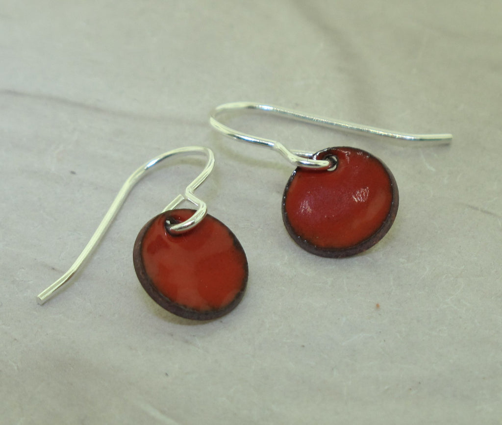 glass enamel disc earrings