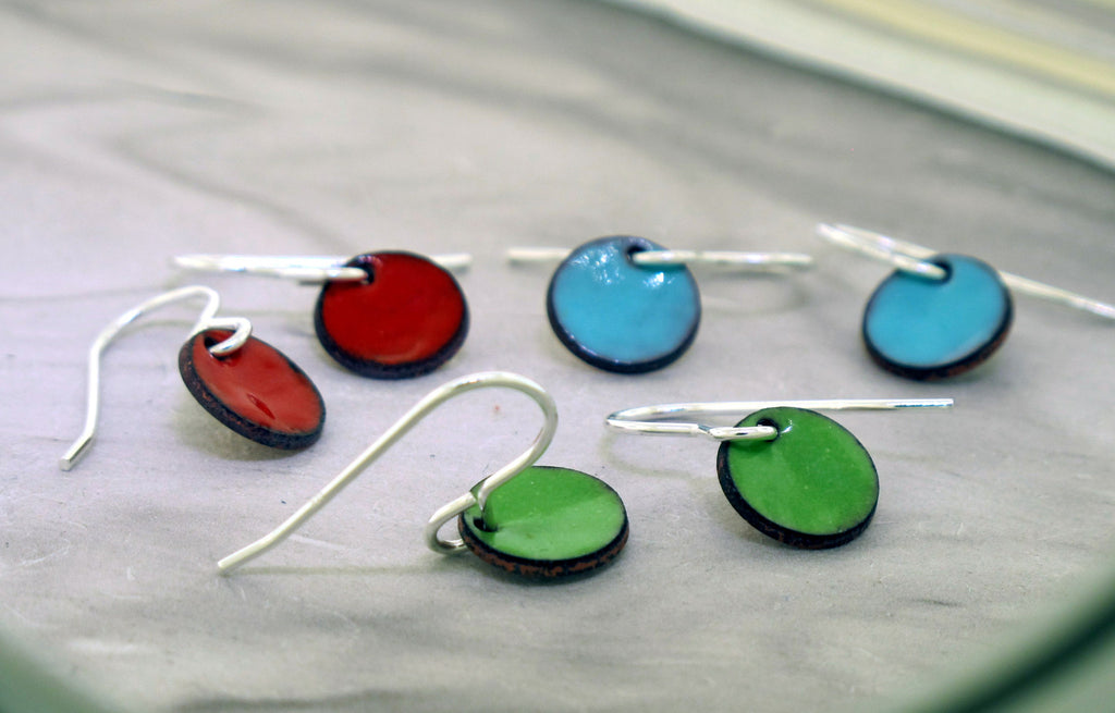 colorful disc earrings