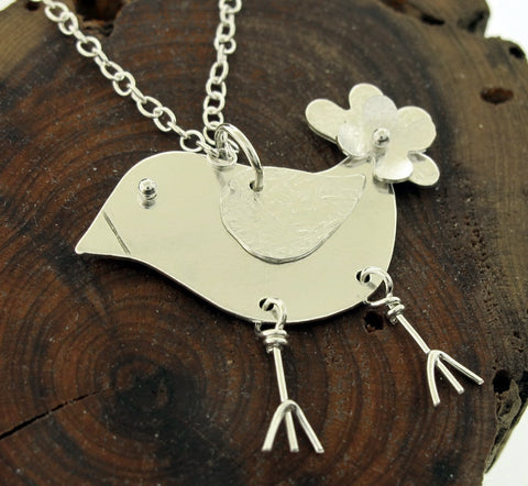 Be Happy Silver Bird Necklace