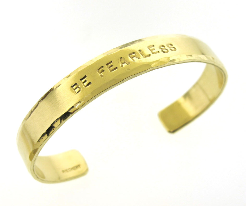 Be Fearless, wide brass cuff with hammered edge