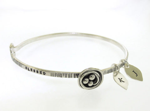 Mama Bird Family Tree Bangle Bracelet, personalized for your family