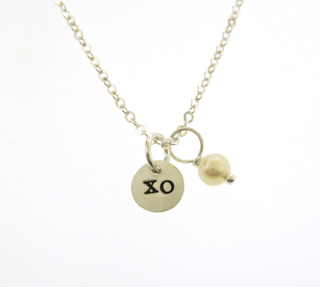 Hugs and Kisses, XO tiny charm necklace with pearl