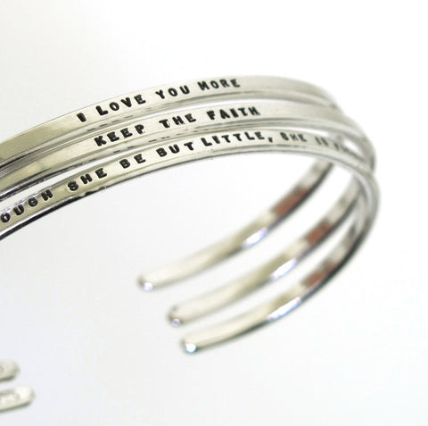 Message Cuff Bracelets (sterling silver)