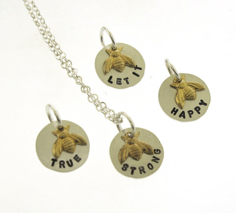 Bee Necklace, sterling silver and brass