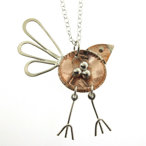 Large Penny Bird with Nest Necklace